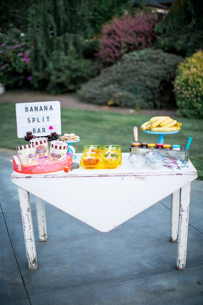 Banana split bar with vintage elements. See this and more inside this Kara's Party Ideas Favorite Things Summer Party!