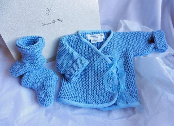 Duchesse or ange cache coeur tricot bleu bebe kit naissance birth set baby wool blue