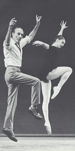 Suzanne Farrell and George Balanchine at rehearsal.