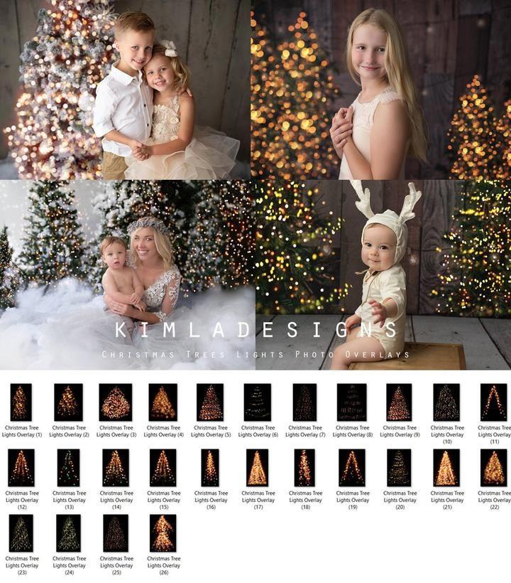 Christmas Tree Lights Bokeh Overlays