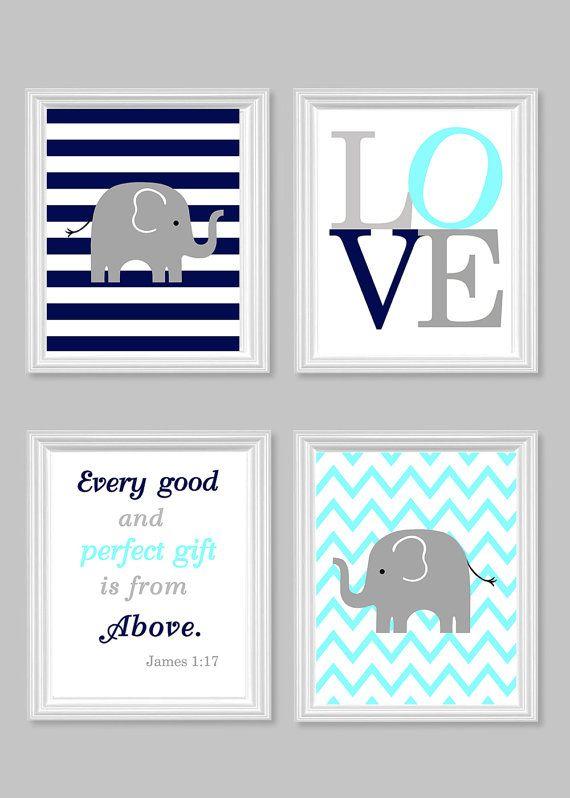 Nursery Art, Elephant Baby Room Decor, Aqua Gray Navy, Every Good and Perfect Gift Quote, Bible, Scripture, Love, Chevron, Stripes, Set of 4