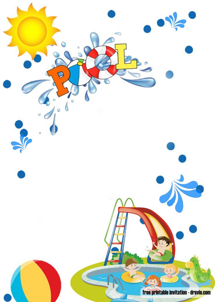 Convite para festa na piscina GRÁTIS para meninos   – Free Printable Birthday Invitation