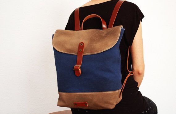 Canvas Backpack,waxed canvas, navy blue color,base stone gray, with handles, leather base ,hand wax