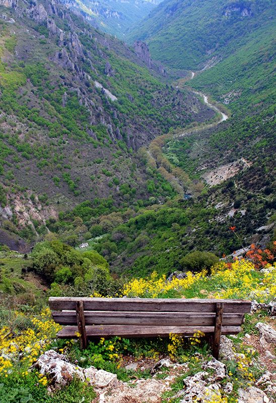 A view of the Vikos Gorge, as seen from Vikos Village.