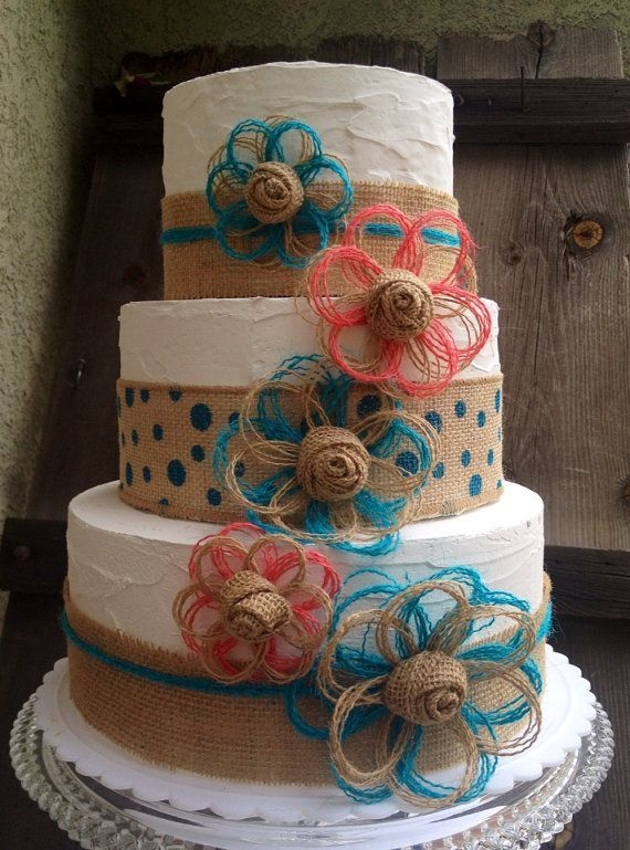 coral and turquoise wedding cakes | Coral and Turquoise Cake Topper Set Rustic Beach by resadavid, $27.49