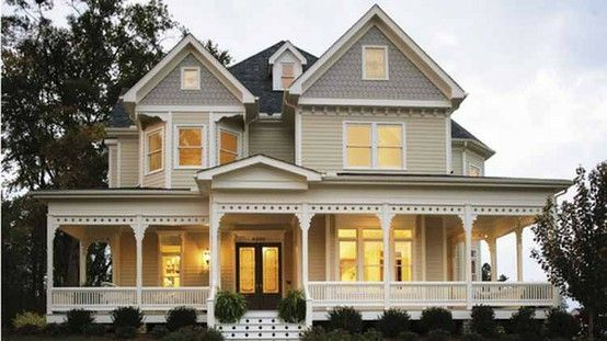 Trim love the big wrap around porch and double front for Double front porch house plans