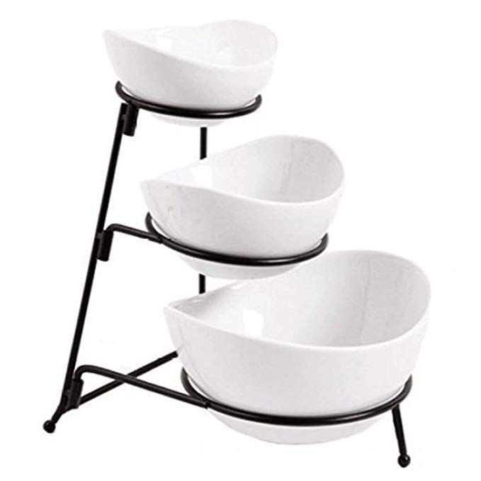 3 Tier Oval Bowl Set With Metal Rack White Party Food Server Display Set Three Ceramic Bowl Serving Ceramic Fruit Bowl Tiered Serving Stand Serving Stand