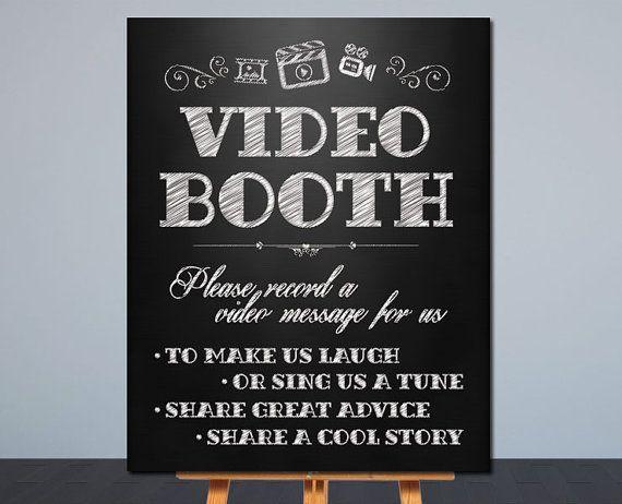 Wedding Video Booth Sign  Printable Wedding by OhBoyLoveItDigital