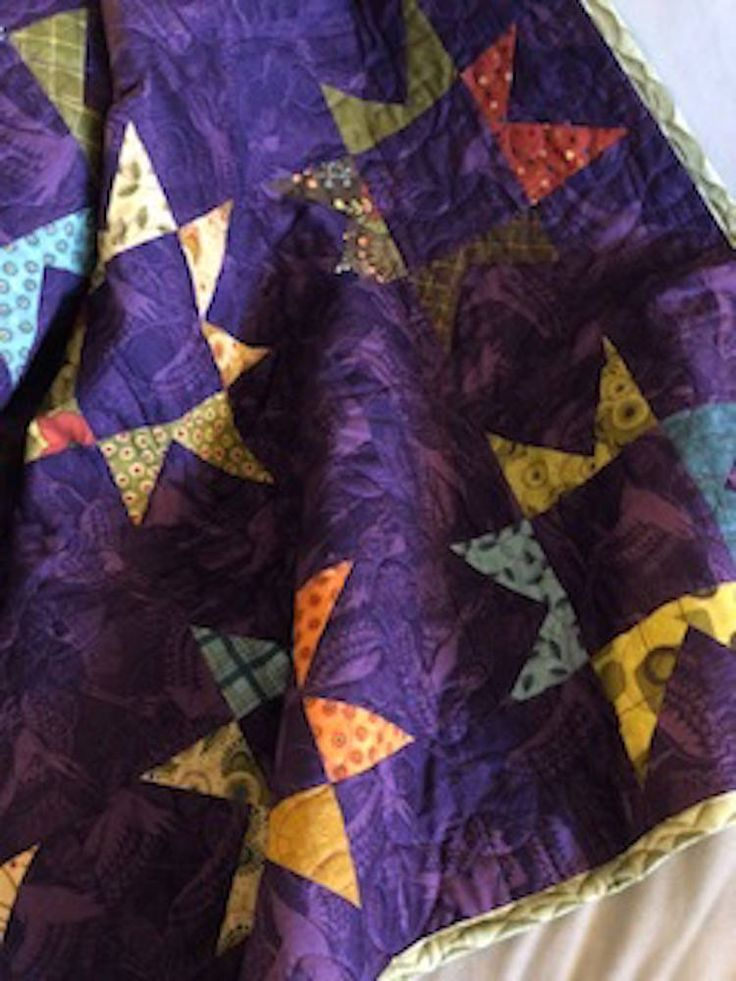 "38""x51"" Reversible Purple Asian Stars Cranes Traditional Floral Patchwork Quilt Home Office Decor Handmade Tabletopper Crib Lap Size by KinshipQuilters on Etsy"