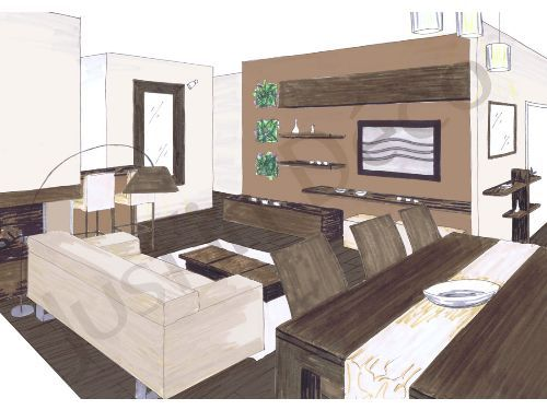 croquis salon salle manger planche deco salon salle manger ambiance zen couleur ecru. Black Bedroom Furniture Sets. Home Design Ideas