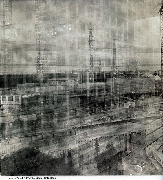 German photographer Michael Wesely has spent decades working on techniques for extremely long camera exposures — usually between two to three years. In the mid-1990s, he began using the technique to document urban development over time.  In 1997, he focused his cameras on the rebuilding of Potsdamer Platz in Berlin.(1997-1999)