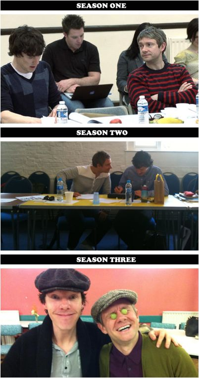 Martin and Benedict at each season's read-throughs. You can tell they're taking season 3 very seriously.