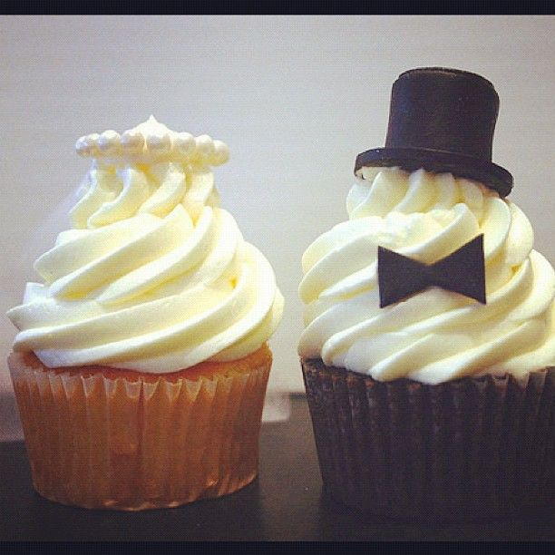 Bride & Groom cup cakes - @Christine- #webstagram