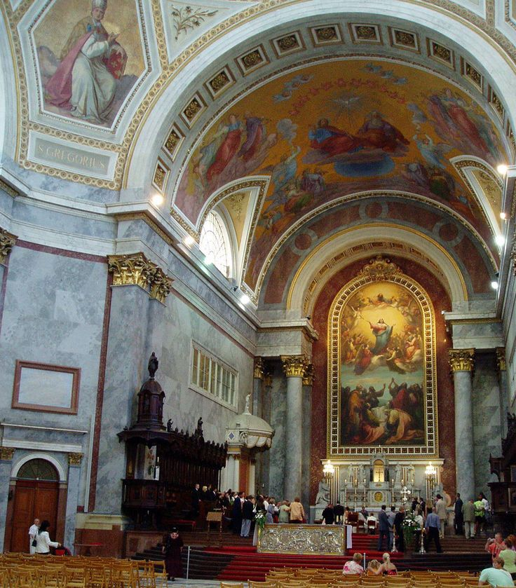 What a beautiful altar! The Esztergom Basilica Cathedral on the bank of Donau River is the largest and tallest church in Hungary. The altarpiece is the largest painting in the world painted on a single piece of canvas.
