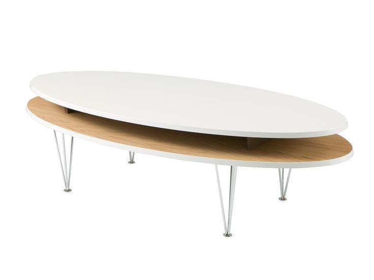 LEVEL ELLIPSE 150 Vit/Ek i gruppen Inomhus / Bord / Soffbord hos Furniturebox (100-14-18971r)