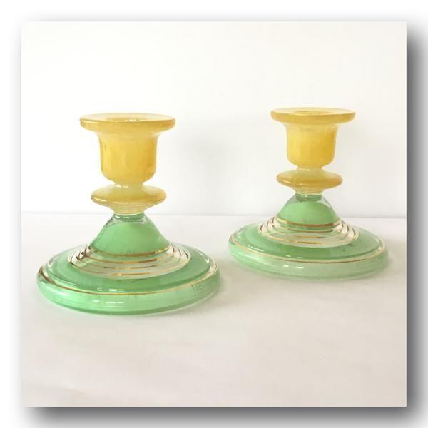 Vintage glass candlesticks holders green yellow gold bands - Vogue Finds alt image 1
