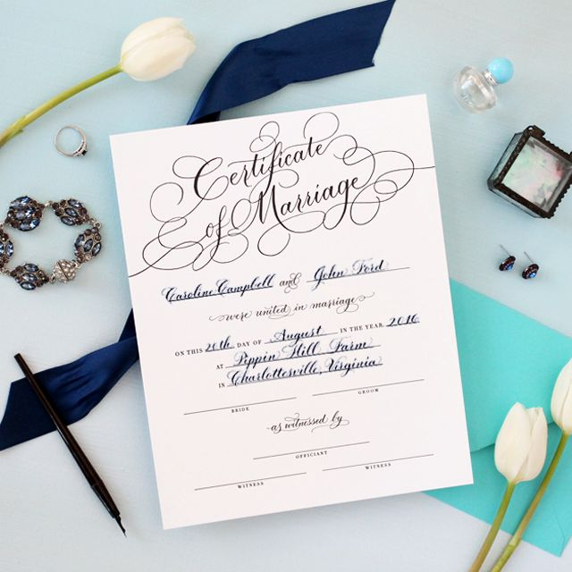 Personalized Marriage Certificate - Black