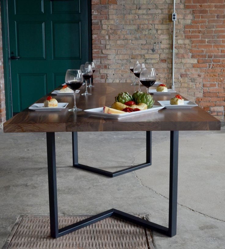 """Irvine Dining Table - Shown in 96x40 Textured Black Frame / Solid 1 3/4"""" Walnut Table Top"""