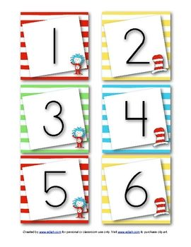UPDATED: This set of cute and colorful Dr. Seuss inspired calendar numbers will go great with your Dr. Seuss theme in the month of March.