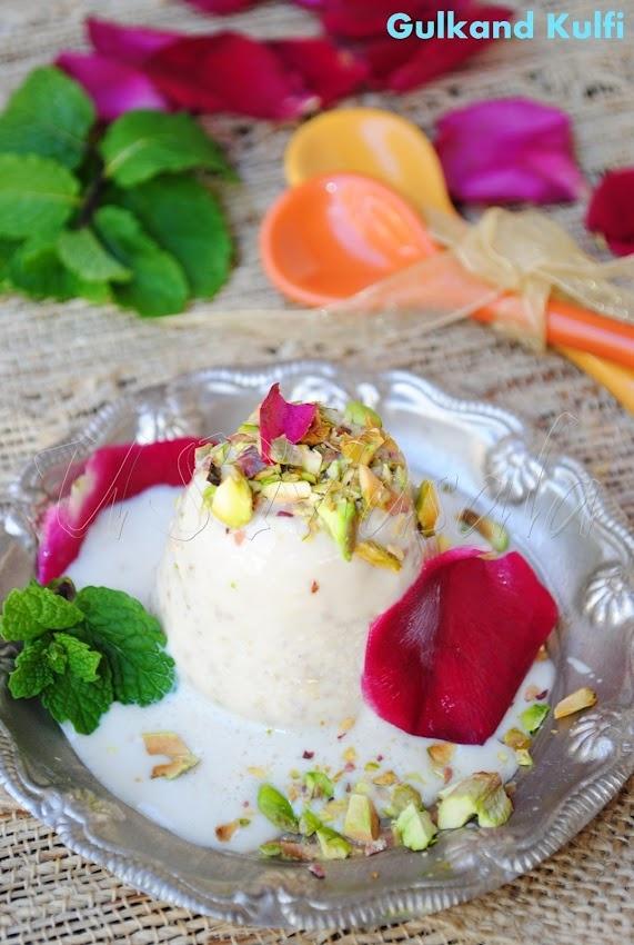 Gulkand-Pista Kulfi aka Rose petal jam Indian ice cream