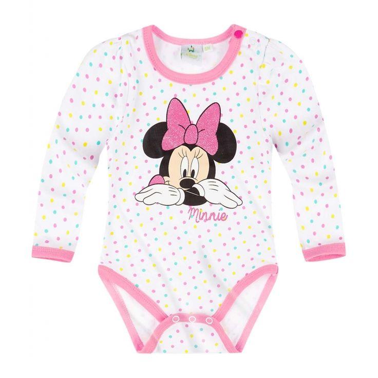 Imbracata cu acest body cu buline colorate, fetita ta va arata super dragalasa!  inchidere cu capse intre picioare si la umar; imprimeu cauciucat frontal si print cu sclipici, sclipici pe fundita roz; material de calitate din bumbac 100%; maneci lungi cu incretituri cochete la nivelul umerillor; articol produs cu licenta Disney Minnie.