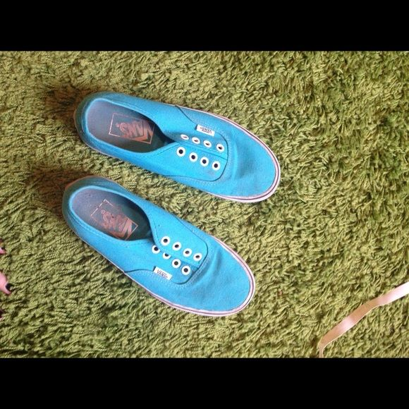 Bright Blue Vans With Pink Sole Super vibrant blue/pink. Worn a few times, but definitely have life left with a good cleanup. Also don't have shoelaces sorry! Vans Shoes Sneakers