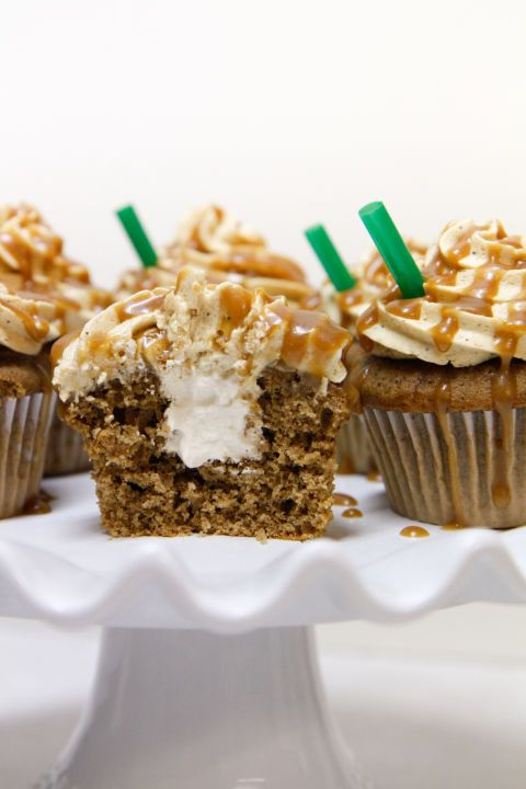One of Starbucks most popular drinks in edible form. Coffee cake, coffee whipped cream filling, topped with a coffee vanilla butter cream drizzled with caramel. Can you say delish? Get the recipe from Sweets.