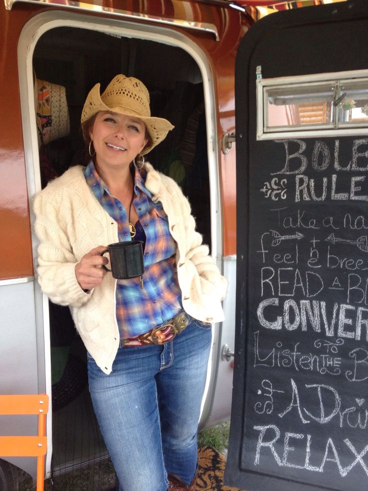 """Cowgirl mornings with Rusty """"B"""" the Boler Trailer"""