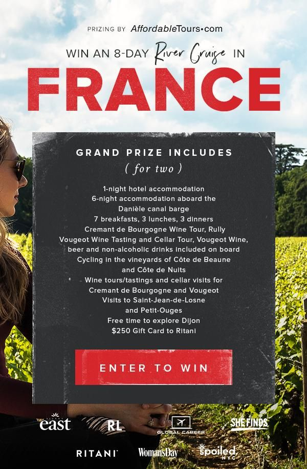 Enter to win an 8 day river cruise in France!!   Sweepstakes - I