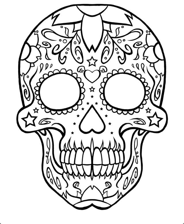 Coloring pages of random designs ~ Sugar Skull Tattoo Designs Outline | Cool Eyecatching ...