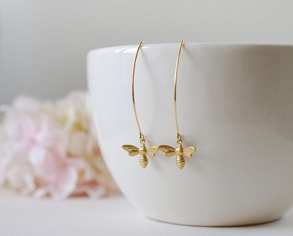 Gold Bee Earrings. Gold Plated Brass Bee Long Dangle by LeChaim, $18.00
