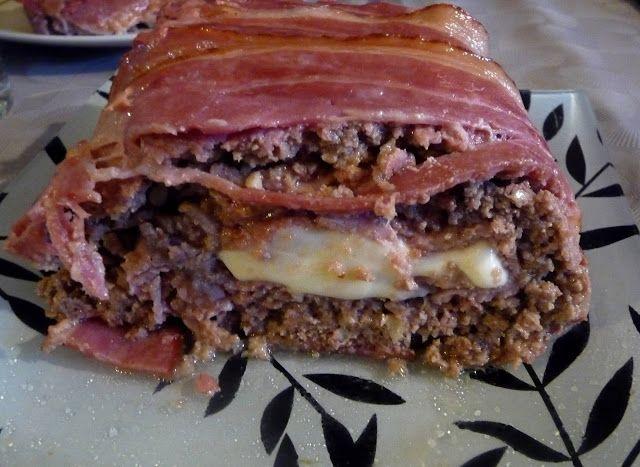 recette pain de viande roulé jambon bacon fromage (mozzarella)
