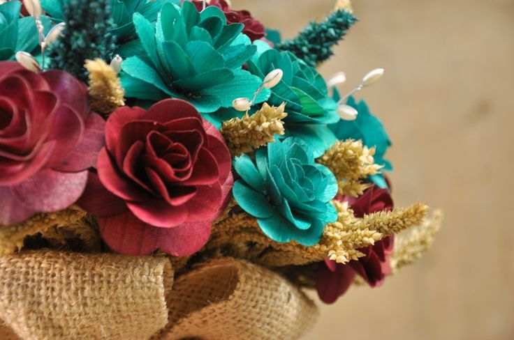Teal Wedding Colors | Teal and Maroon Wood Wedding Bouquet - ACCENTS AND PETALS