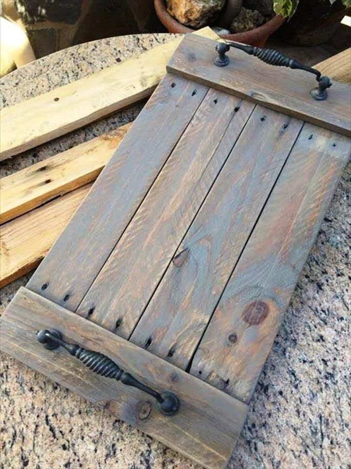 DIY Upcycled Pallet Tray, Wall Shelf | 101 Pallet Ideas More