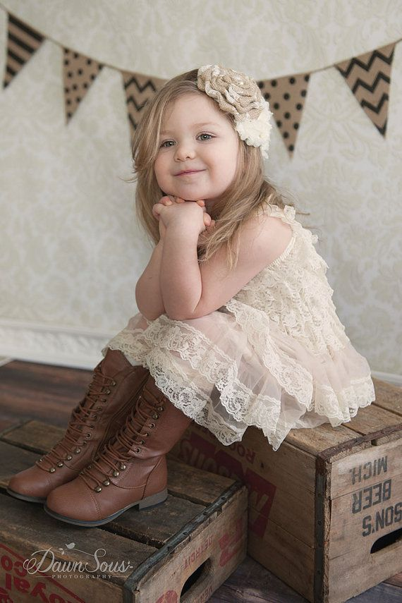 Rustic Flower Girl Dress Lace by CountryCoutureCo on Etsy