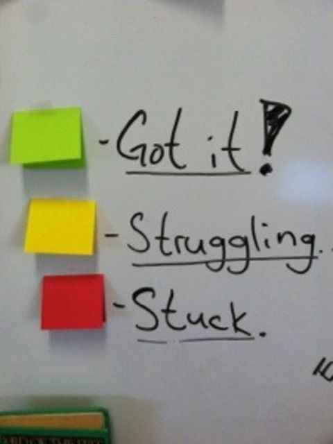 Give kids a visual way to represent their status as they work independently.