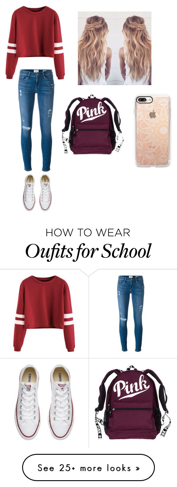 """#school outfit"" by unicornalondra on Polyvore featuring Frame Denim, Converse and Casetify"