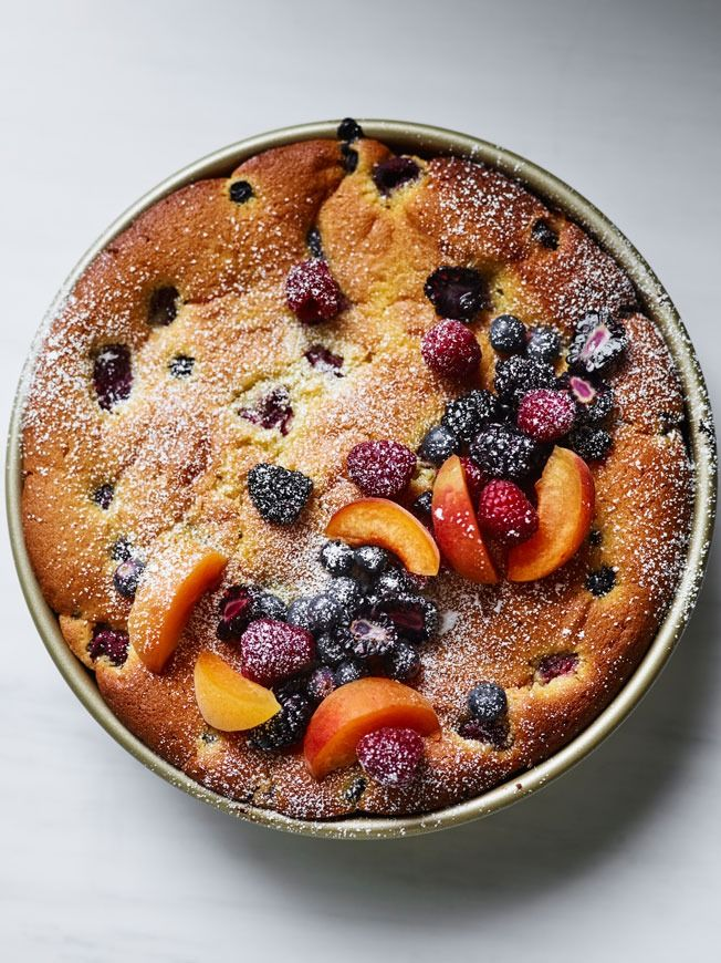 Olive Oil Cake with Summer Fruit This cake is a snap to prepare—just whisk the ingredients together, fold in the fruit and then bake. The olive oil makes it moist and tender.