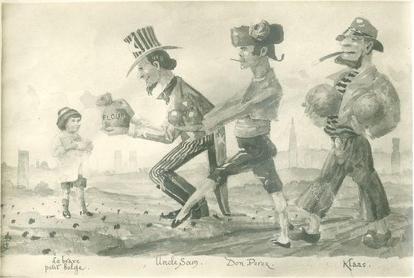 Karikatuur over de voedselbevoorrading onder de Eerste Wereldoorlog. Dapper 'klein' België krijgt geschenken van oom Sam, Don Perez en Klaas. [PAL/PCCE - 251.100.09]