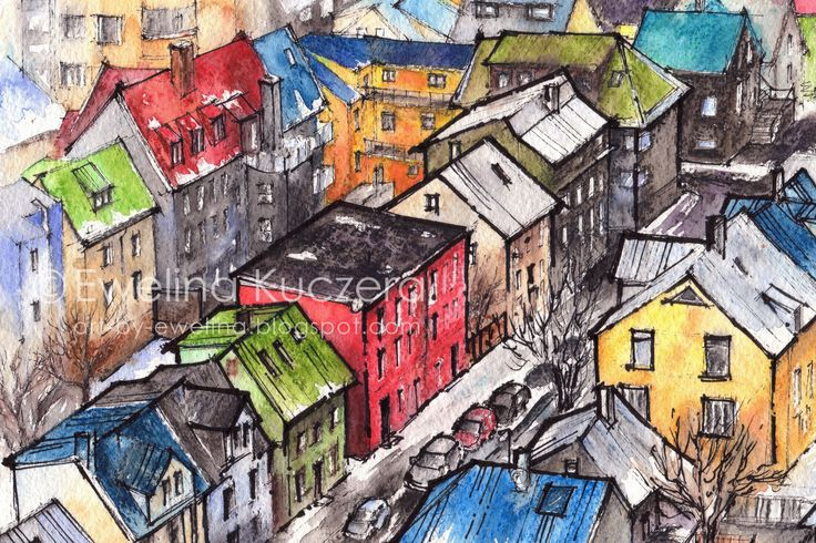 #reykjavik #iceland #houses #colorful #town #urbansketch #sketch #illustration #ink #fineliners #watercolorpencils #watercolor #fabercastell #albrechtdurerpencils #winter #streets #cars #art #painting #ewelinakuczera #city #landscape #red #yellow #blue #white