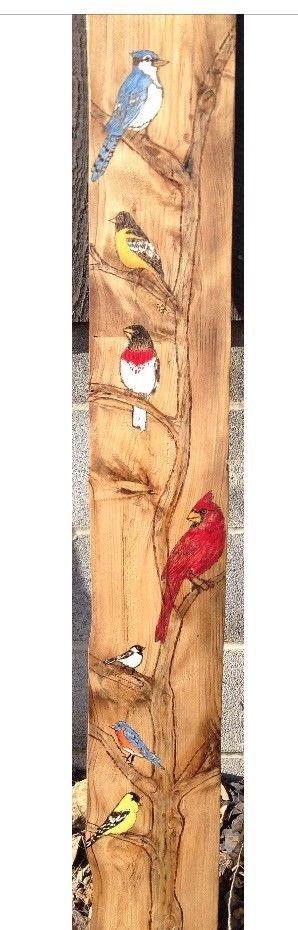 Think spring, beautiful bird lovers gift ,hand burned, hand painted  | eBay