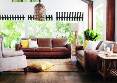 Brown Leather Couches Yellow Cushions Neutral Chair And