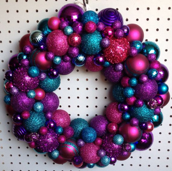 Red Turquoise Not Just For Holiday Decor: Beautiful Christmas Ornament Wreath Pink, Purple, And