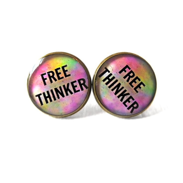 Tie Dye Free Thinker Earrings, Liberal Agnostic Atheist Jewelry, Science and Astronomy Lover's Jewelry, Solar System Universe Galaxy Jewelry by SnarkFactory on Etsy https://www.etsy.com/listing/168211569/tie-dye-free-thinker-earrings-liberal