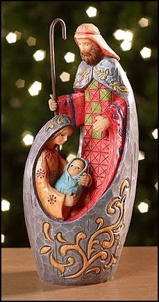 "Modern Mosaic Design Adoring Holy Family 6"" Resin Nativity Christmas Figurine 