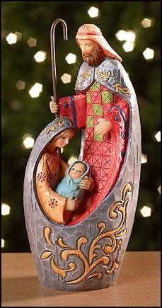 "Modern Mosaic Design Adoring Holy Family 6"" Resin Nativity."