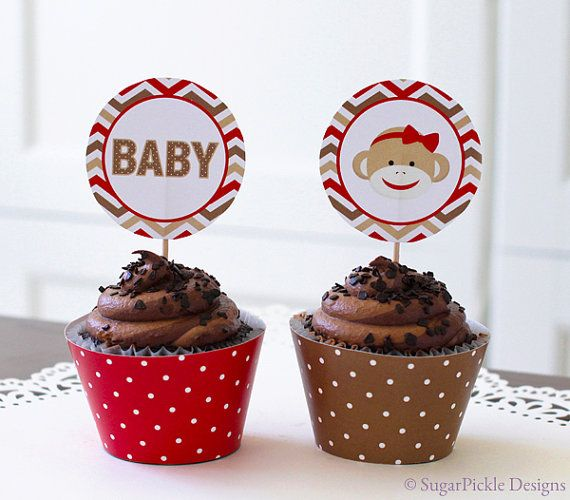 Sock Monkey Cupcake Toppers, Baby Shower, Sock Monkey Baby Shower Toppers, Sock Monkey Toppers, Sock Monkey Party Decorations - 2.25 inch   #SockMonkeyCupcake #SockMonkeyIdeas #CupcakeCircles #SockMonkeyParty #SockMonkeyToppers #CupcakePrintables #SockMonkey #PartyPrintable #CupcakeTopper #DiyPrintable
