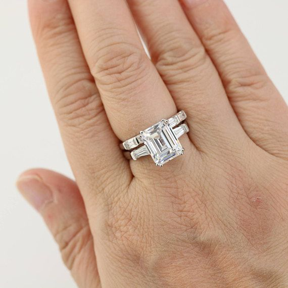6.3ctw Wedding Ring Set 5 Carat Emerald Cut Ring Engagement
