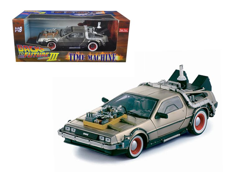 """Sun Star Delorean Time Machine From """"Back To The Future III"""" Movie 1/18 Diecast Model Car by Sunstar - Brand new box. Rubber tires. Has opening hood and doors. Made of diecast with some plastic parts. Detailed interior, exterior, engine compartment. Dimensions approximately L-11.5, W-5.5, H-4 inches.-Weight: 4. Height: 8. Width: 15. Box Weight: 4. Box Width: 15. Box Height: 8. Box Depth: 7"""