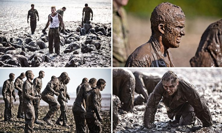 Royal Marines training through the mud